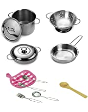 Juego de ollas y sartenes de cocina, juego de teepao para niños con acero inoxidable