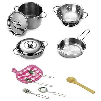 Juego de ollas y sartenes de cocina, juego de teepao para niños con acero inoxidable, juego de utensilios de cocina, juguetes pretendidos para niños: ...
