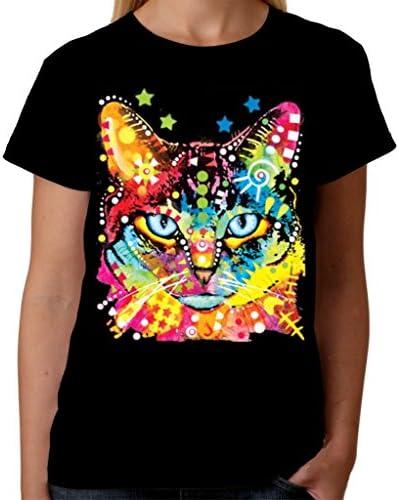 Velocitee psicodélica de mujer T-camiseta de manga corta para ojos azules diseño de gato de A19035: Amazon.es: Ropa y accesorios