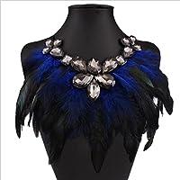 Hunputa Fashion Charm Exaggerated Rhinestone Diamond Feather Statement Choker Necklace Jewelry Party (Blue)