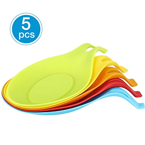 Silicone Spoon Rest Set of 5 - Heat Resistant Kitchen Spoon Holder,Flexible  Almond-Shaped, Kitchen Utensil Rest for Cooking/BBQ (Colorful, Large Size)