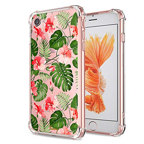 iPhone 7 8 Floral Case, Crystal Clear with Design Cute Tropical Floral and Palm Pattern Bumper Protective Case for Apple iPhone 7 8 4.7 Inch Gel Soft TPU Silicone Material Slim Shockproof Flower Cover (Case Iphone Camra)
