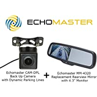 Echomaster MM-4320 Replacement Rearview Mirror with 4.3 Monitor and CAM-DPL Back Up Camera with Dynamic Parking Lines