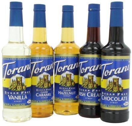 Torani Sugar Free Syrup Variety, (5pack of 750ml) One Each of Sf: Vanilla, Caramel, Hazelnut, Irish Cream, and Chocolate