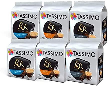 Tassimo Coffee LOR Espresso Bundle Cápsulas de Café - LOR Decaffeinato, Delizioso, Fortissimo - 6 Paquetes (96 Porciones)