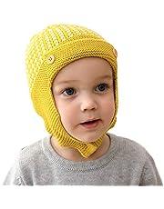 puseky 0-3Y Baby Boys Girls Knit Crochet Hat Beanie Cap Winter Warm Dual Pom Pom Ball Beanie Hats