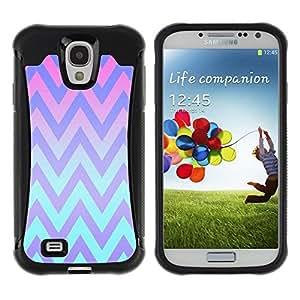 Suave TPU Caso Carcasa de Caucho Funda para Samsung Galaxy S4 I9500 / Pink Teal Lines Pattern / STRONG