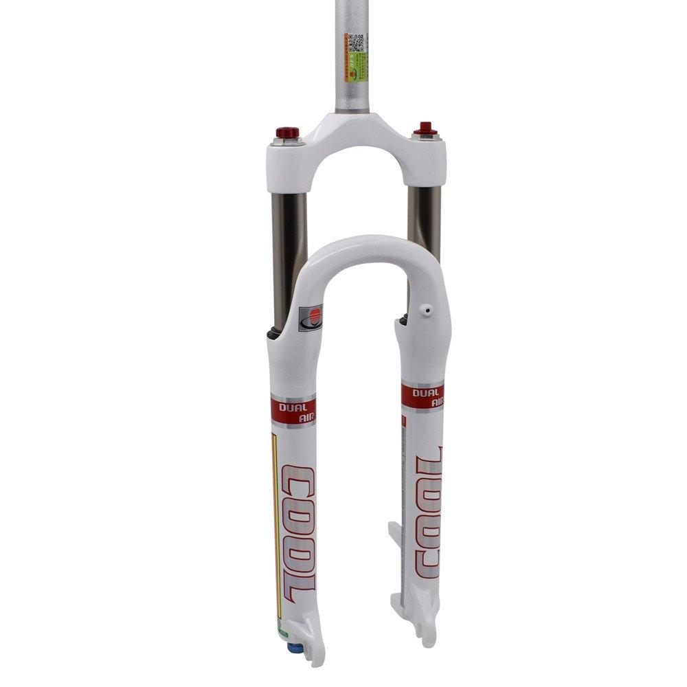 DFS Gabel mit cool-rlc, Dual-Suspension Gabel für Mountainbike Touring, Weiß, 26 27,5 cm