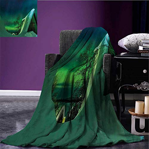 sunsunshine Aurora Borealis Lightweight Blanket Wooden Roof House Winter ICY Arctic View Cold Climates Air Image Lightweight All-Season Blanket Dark Blue Jade Green Bed or Couch 80