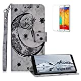 Funyee Magnetic Flip Case for Samsung Galaxy Note 8 [Free Screen Protector],Luxury Moon Embossed Pattern PU Leather Soft Wallet Case [Built-in Credit Card Slots] for Samsung Galaxy Note 8,Black