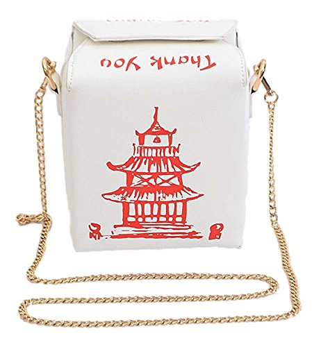 Chinese Take-Out Clutch Shoulder Bag (White)