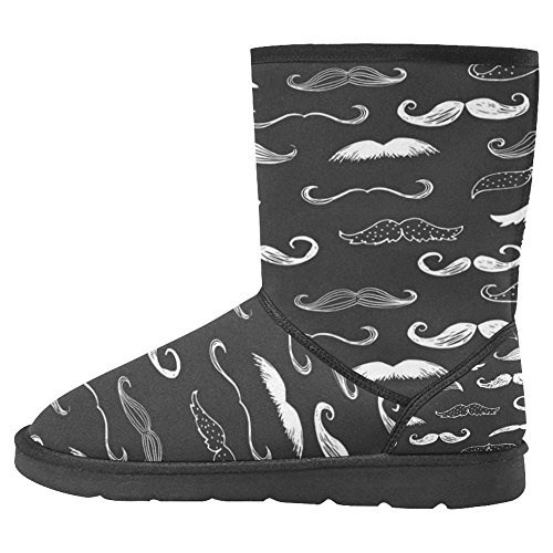 Snow Boots Da Donna Interestprint Stivali Invernali Unici Dal Design Unico Baffi Neri E Bianchi Multi 1