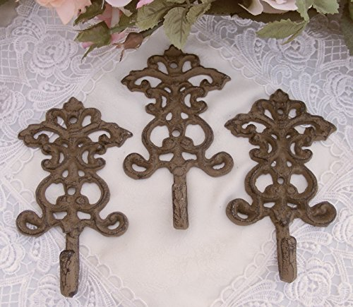 Cast Iron Fleur De Lis Scroll Hook Set - 3 Piece ~ Brown