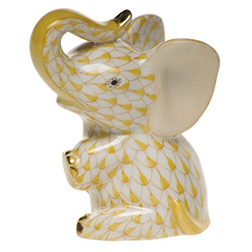 Herend Baby Elephant in Butterscotch Fishnet