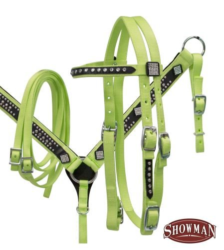 Showman Pony Bling Headstall, Split Reins and Breast Coll...