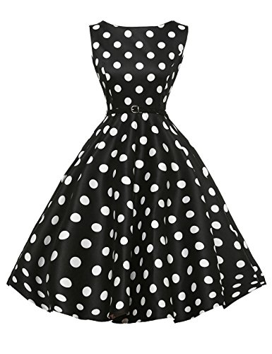 GRACE KARIN A Line Women Retro Pinup Dress 50s Styles Black Size XL F-8 -