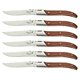 FlyingColors Laguiole Steak Knife Set. Stainless Steel, Rose Wood Handle, Gift Box, 6 Pieces