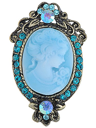 - Alilang Antique Golden Tone Light Blue Rhinestones Cameo Woman Brooch Pin