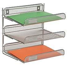 """Honey-Can-Do OFC-03307 3-Tier Mesh Desk Organizer, 13.2 x 10.75 x 12.5"""", Silver"""