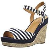 Tommy Hilfiger Women's Kali Espadrille Wedge Sandal, Navy + White, 10 Medium US