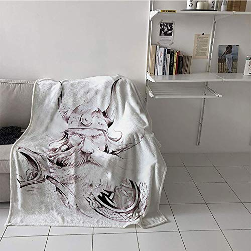 Khaki home Children's Blanket Cozy Plush Throw Blanket (60 by 62 Inch,Tattoo,Wise Old and Brave Viking Warrior with his Long White Beard and Armour Print,Dried Rose White
