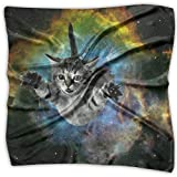 Polyester Lady's Handkerchief Scarf Women's Space Cat Jumping Square Satin Headscarf S