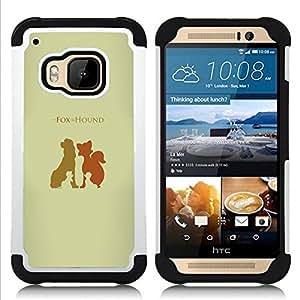 """HTC One M9 /M9s / One Hima - 3 en 1 impreso colorido de Altas Prestaciones PC Funda chaqueta Negro cubierta gel silicona suave (Fox Hound"""")"""