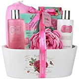 Relaxing Bath Spa Kit For Men, Women and Teens, Gift Set Bath And Body Works- Natural Pomegranate Aromatherapy Spa Gift Basket Includes Shower Gel, Bubble Bath, Body Lotion, Bath Salt, Sponge