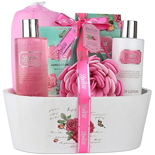 Spa Gift Basket, Spa Basket with English Rose Fragrance By Lovestee-Bath and Body Gift Basket, Gift Box, Includes Shower Gel, Body Lotion, Hand Lotion, Bath Salt, Bath-Body Sponge and EVA Spo