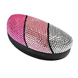 Molshine Hard Shell Bling Crystal Sunglasses Case, Classic Extra Large Case for Oversized Sunglasses and Eyeglasses (pink crystal)