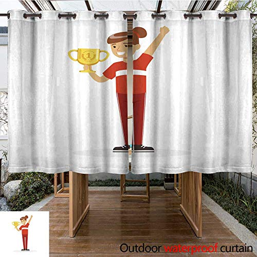 RenteriaDecor Outdoor Balcony Privacy Curtain Happy Athletes Girl in red Sports Uniform Holding Winner Cup Kid Celebrating her Victory Cartoon Vector Illustration W55 x ()