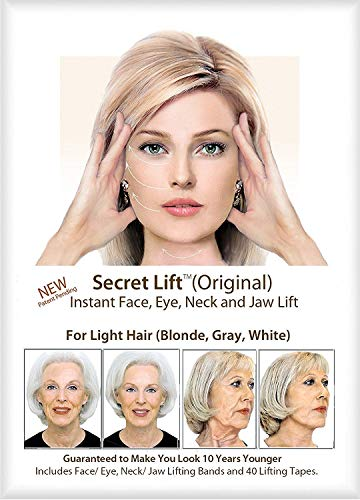 Original Instant Face, Neck and Eye Lift (Light Hair) Facelift Tapes & Bands Secret Lift - Made In USA Strongest in Market - Anti-wrinkle Aging Face Lift Tapes - 40 pcs Fresh Stock - FREE Return