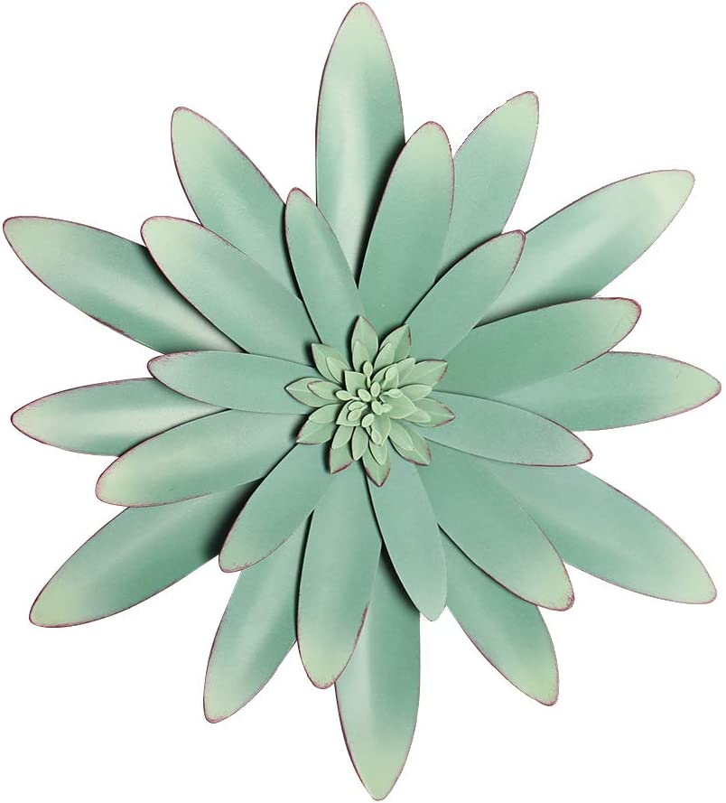 H HOMEBROAD. Metal Flowers Wall Decor Garden Wall Art Hanging for Bedroom Bathroom Living room Porch, Mint Green, 13""