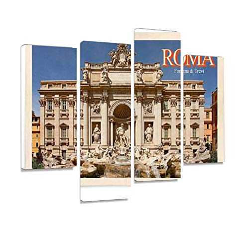 (Vintage Postcard: Rome, Italy, Trevi Fountain Canvas Wall Art Hanging Paintings Modern Artwork Abstract Picture Prints Home Decoration Gift Unique Designed Framed 4 Panel)