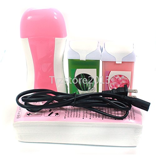 Baisidai Pro 4 in 1 Aloe & Rose Hair Removal Depilatory Heater Wax Roll Waxing Warmer Paper Tools Kit