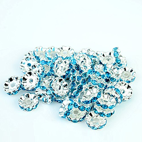 RUBYCA Top Quality 100pcs 6mm Wavy Rondelle Spacer Beads Silver Tone Aquamarine Blue Czech Crystal