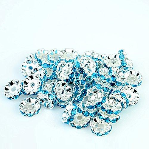 RUBYCA Top Quality 100pcs 6mm Wavy Rondelle Spacer Beads Silver Tone Aquamarine Blue Czech - Beads Aquamarine Rondelle