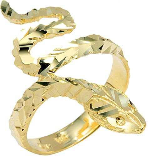14k Yellow Gold Scale Band Snake Statement Ring (Size 6.75)