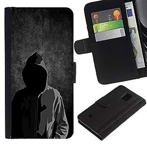 Samsung Galaxy S5 Mini / SM-G800 (Not For S5!!!) , la tarjeta de Crédito Slots PU Funda de cuero Monedero caso cubierta de piel ( Anonymous Faceless Mask Hood Sweatshirt Man)