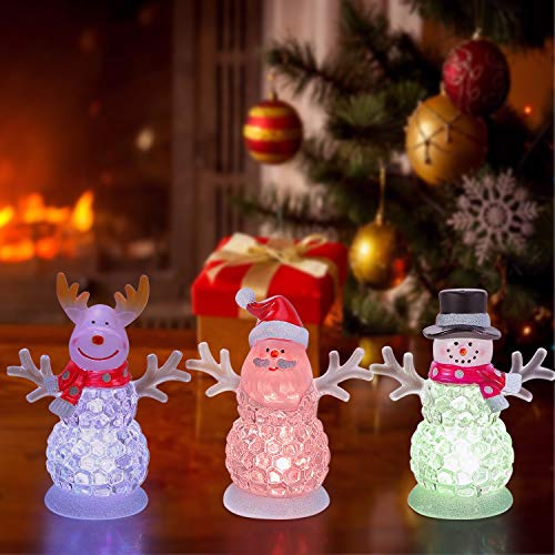 Small Christmas Figurines Battery Operated RGB Color Changing Decorations Light Indoor Christmas Ornament for Table Decoration and Gift - Acrylic Snowman,Santa Claus,Reindeer,4.5inch(3 Pack)