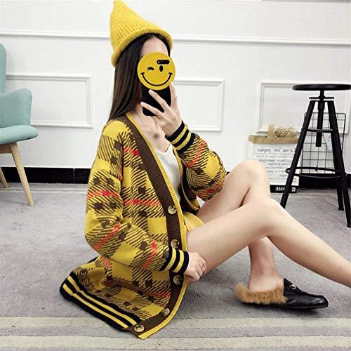 Donna Gelb Giovane Autunno Maglieria Moda Cappotto V Pattern Chic Pwwtq6