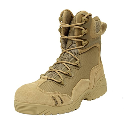 emansmoer Men's Military Tactical Combat Lace-up High-top Shoes Boots Waterproof Outdoor Sport Hiking Trekking Boots Yellow mKyvFjPFL