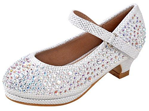 Forever Dana-58k Kids Mid Heel Rhinestone Pretty Sandal Mary Jane Platform Dress Pumps White 9