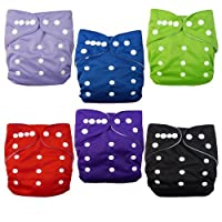 Alva Baby 6pcs Pack Washable Cloth Diaper with 2 Inserts Each (Neutral Color)...