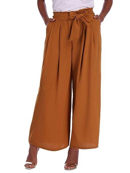 Minetom Mujeres Oficina Pantalones Casual Moda Verano Otoño Gasa Color Sólido Harem Playa Pantalones De Pierna