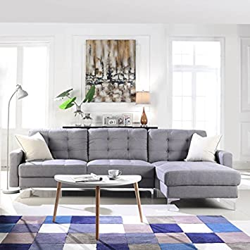 Amazon Modern Tufted Linen Fabric Sectional Sofa L Shape