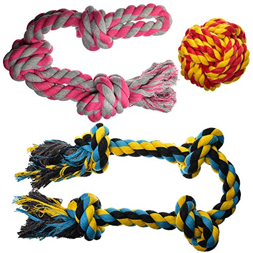 Dog Toys for Aggressive Chewers – Large Dog Toys – 3 Nearly Indestructible Chewing Ropes – Durable Heavy Duty Dental Chew Toys for Big Dogs – Dog Rope Chew Toys – Tug of War Dog Toy – Tough Dog Toys
