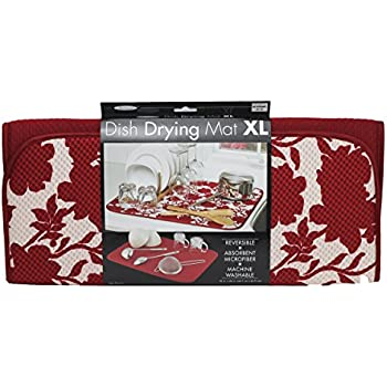 Amazon Com The Original Dish Drying Mat Red Floral Home