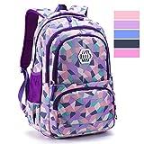 Geometric Backpack Primary School Book Bag for Girls Boys 8-12 Years Old, Uniuooi Waterproof Travel Rucksack Kids Satchel (Purple)