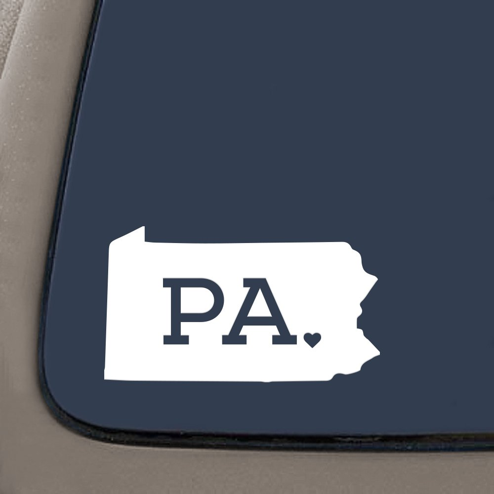 DD987W Pennsylvania With State Abbreviation Decal Sticker | 5.5 Inches By 3.1 Inches | Premium Quality White Vinyl
